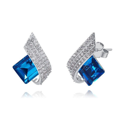Davena Blue Square Crystals Stud Earrings - Davena watches