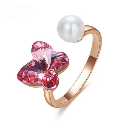 Shell Pearl Ring Romantic Butterfly Rose Gold Ring - Davena watches