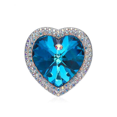 Vintage Ocean Blue Crystal Brooches - Davena watches