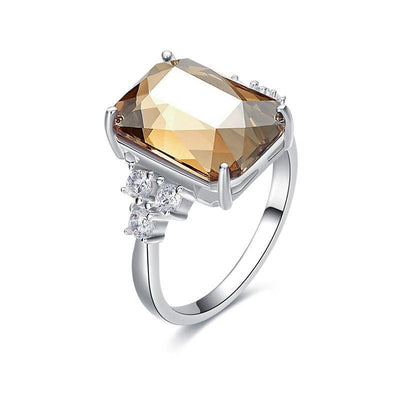 Square Crystals 925 Sterling Ring - Davena watches