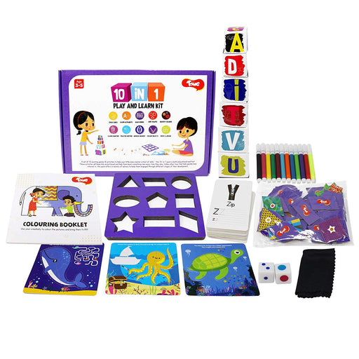 10-in-1 Play and Learn Kit - 10 Educational Games & Activities for 3-4 Year Old Kids