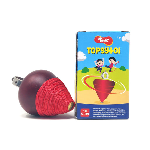Toiing Topsytoi - Traditional Wooden Spinning Top; Also Spins Upside Down