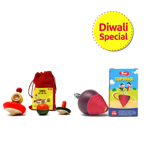 Toiing Topsytoi & Spintoi Combo Pack, Eco-friendly Chakri AKA Spinning Tops