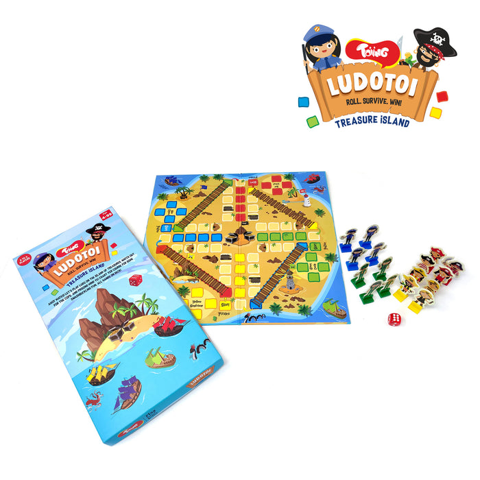 Toiing Ludotoi - Pirate Themed Ludo Board Game, Great Birthday Gift for Kids (4 year old and above)