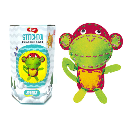 Toiing StitchToi - DIY felt toy stitching kit for 5-10 years old kids (Monkey)