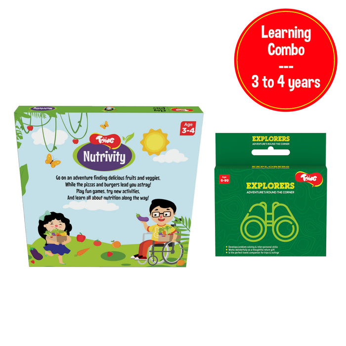 Learning Combo, - Nutrivity 4-in-1 Kit & Explorers Card Game, for 3 to 5 years