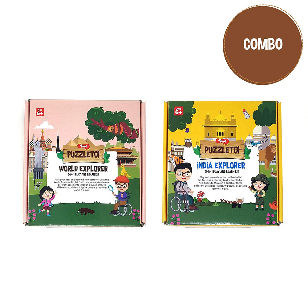 Puzzletoi Combo - India & World Map, Play & Learn Kit with 3 Games in each kit