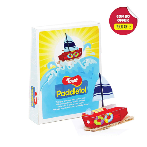 Toiing Paddletoi Return Gift Combo - Pack of 12 DIY Rubberband Paddle Boat for Kids, STEM Science Learning Project…