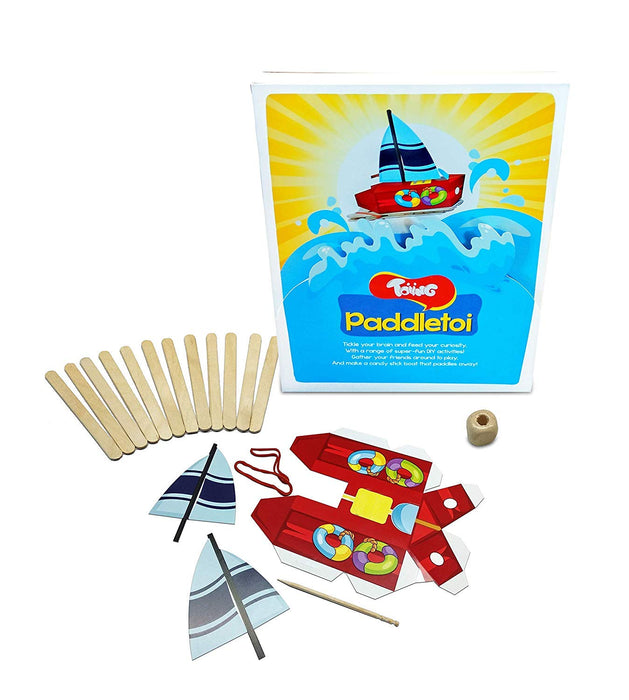 Toiing Paddletoi Return Gift Combo - Pack of 24 DIY Rubberband Paddle Boat for Kids, STEM Science Learning Project…
