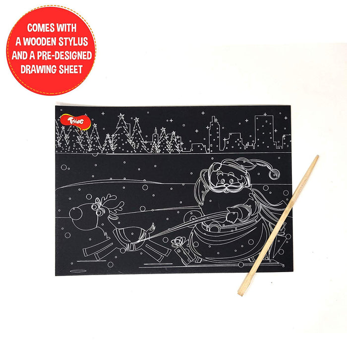 Toiing Doodletoi Santa Christmas Magical Colourful Scratch Art Drawing Papers - Pack of 10