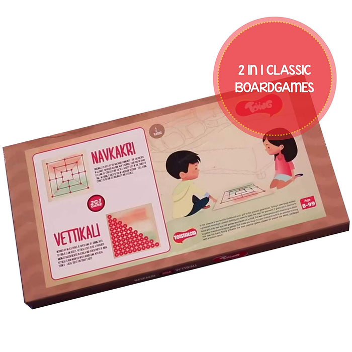 Toiing Navkakri Vettikali 2-in-1 Traditional Indian Fun Strategy Board Game For Kids