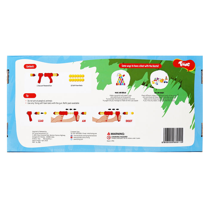 Toiing Blastoi Super Fun Exciting Air Popper Toy Gun with 12 Soft Foam Bullets (Blue)