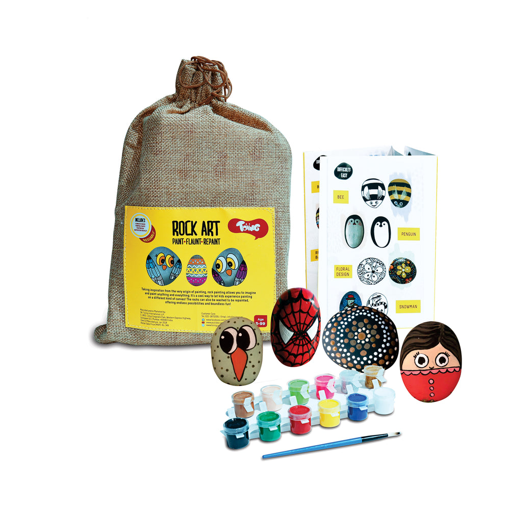 Rock Art Kit - Creative Reusable Rock Painting & Colouring Sets; Indoor Art Project for Children