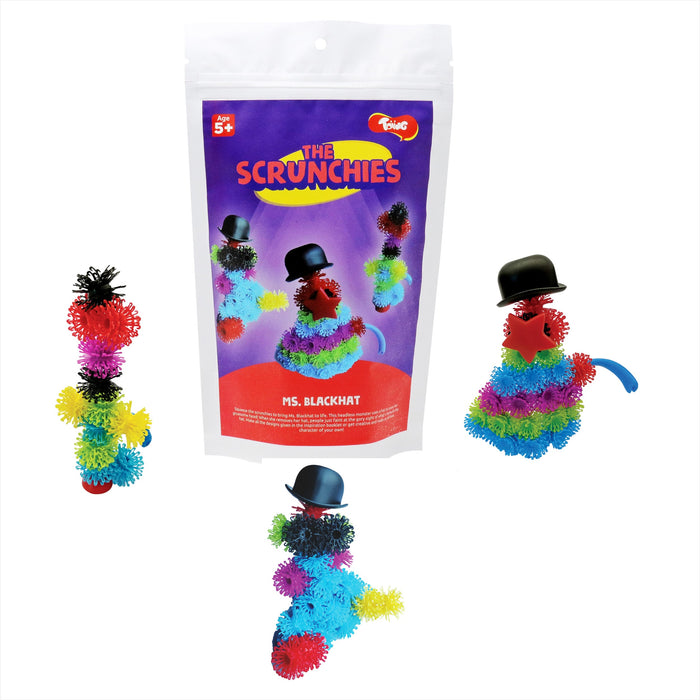 Toiing Scrunchies - Ms. Blackhat & Friends Construction Set for Kids with Innovative Building Blocks and Accessories
