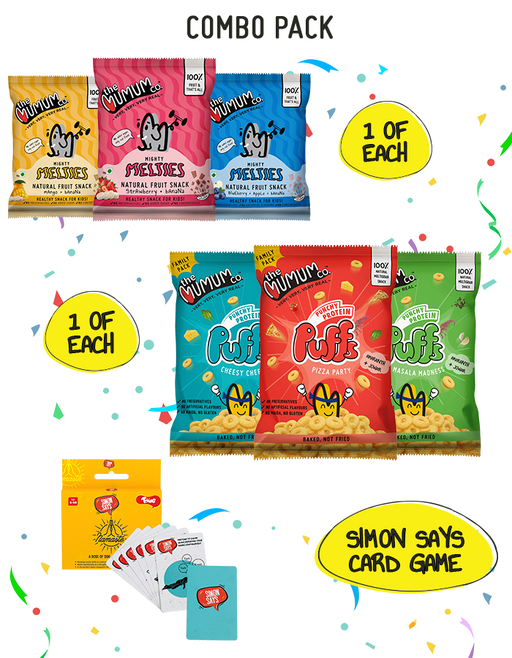 The Mumum Co. Melties and Protein Puffs Combo with Toiing Simon Says Card Game