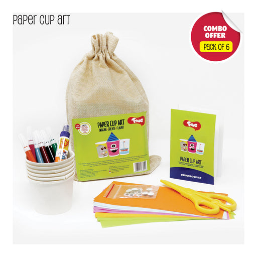 Toiing Paper Cup Art Return Gift Combo - Pack of 6 DIY Paper Cup Craft Kits for Kids Birthday Parties
