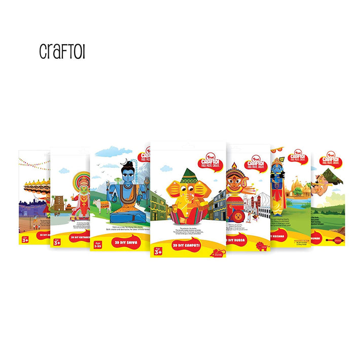 Craftoi Return Gift Combo - Pack of 24 3D DIY Paper Craft Kit Toy Indian Festivals