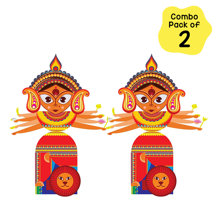 CrafToi Durga - 3D DIY Indian Paper Craft Kit Toy (Pack of 2)