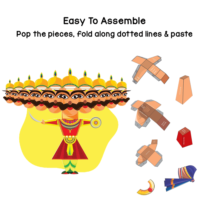 CrafToi Raavan - 3D DIY Indian Paper Craft Kit Toy (Pack of 2)