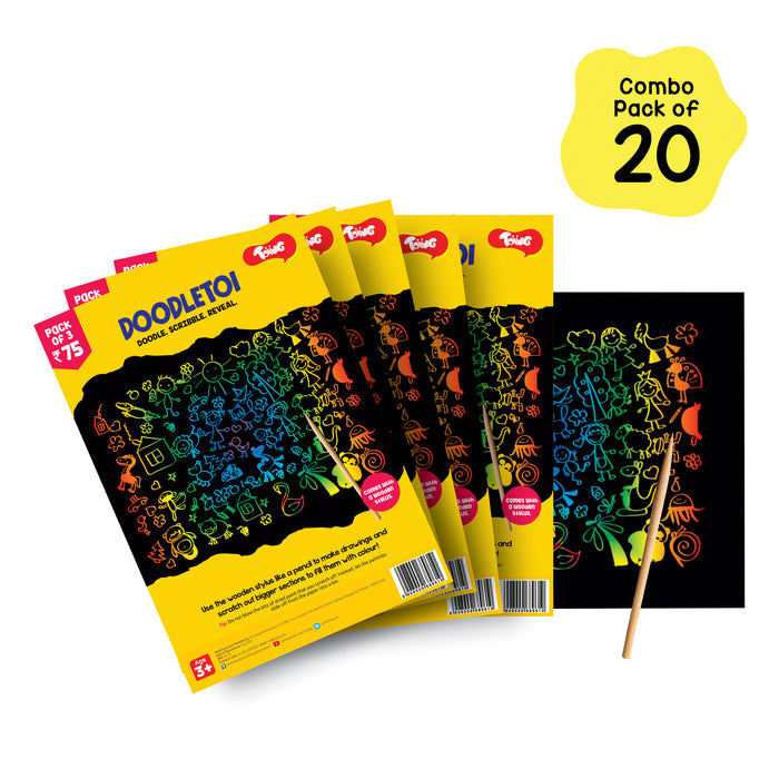 Doodletoi Return Gift Combo - 20 Packs of 3 Magical Colourful Scratch Art Drawing Papers In Each Pack