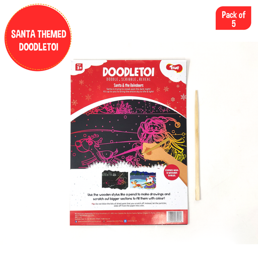 Doodletoi - Colourful Scratch Art Drawing Papers (Santa) - Pack of 5