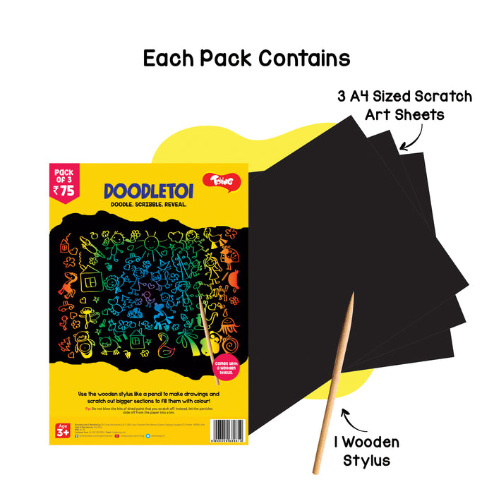 Doodletoi Return Gift Combo - 30 Packs of Magical Colourful Scratch Art Drawing Papers (1 Pack = 3 Sheets, Black)