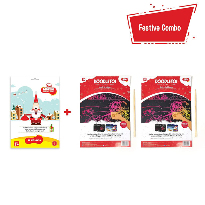Toiing Craftoi Santa, 3D DIY Craft Kit and Toiing Doodletoi Santa Pack of 2