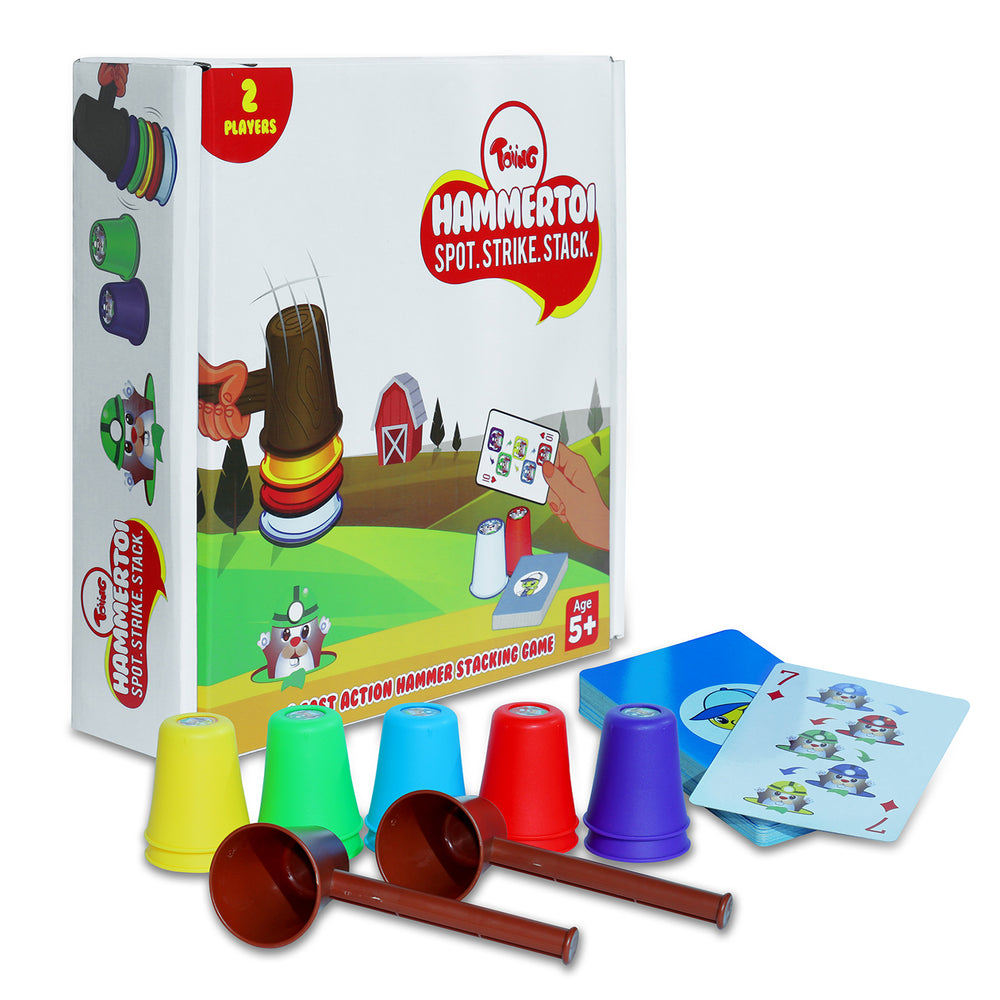 Toiing Hammertoi - Fast-paced Educational Learning Fun Game for Boys and Girls, Develops Observation Skills & Reflexes