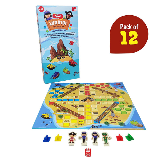 Ludotoi Return Gift Combo - Pack of 12, Pirate Themed Ludo Board Game, Great Gift for Kids (Ages 4 Years and Above)