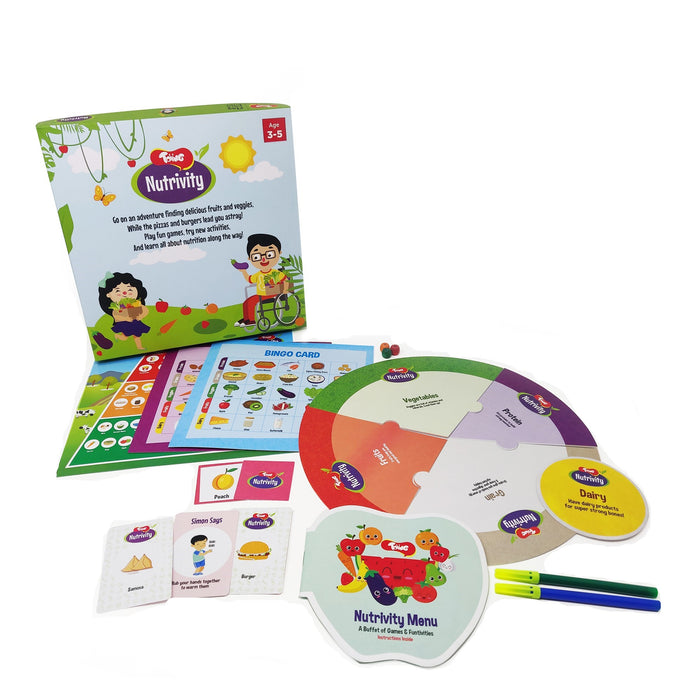 Nutrivity 4-in-1 Game for Food and Fitness Along with Fun Learning Activities for 3 - 5 Year Old Kids.