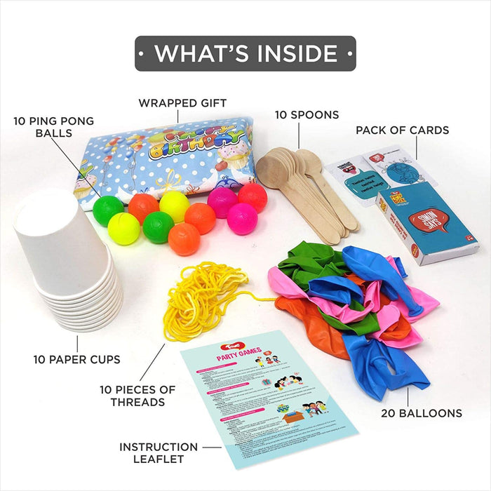 Toiing Party Games Supplies, 8 Fun Party Games with Detailed Instructions for Kids of Age 3 - 8 Years