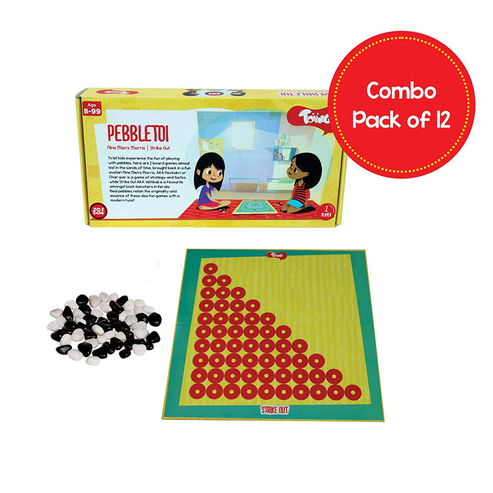 Pebbletoi 2-in-1 Strategy Board Game: Return Gift Combo Pack of 12