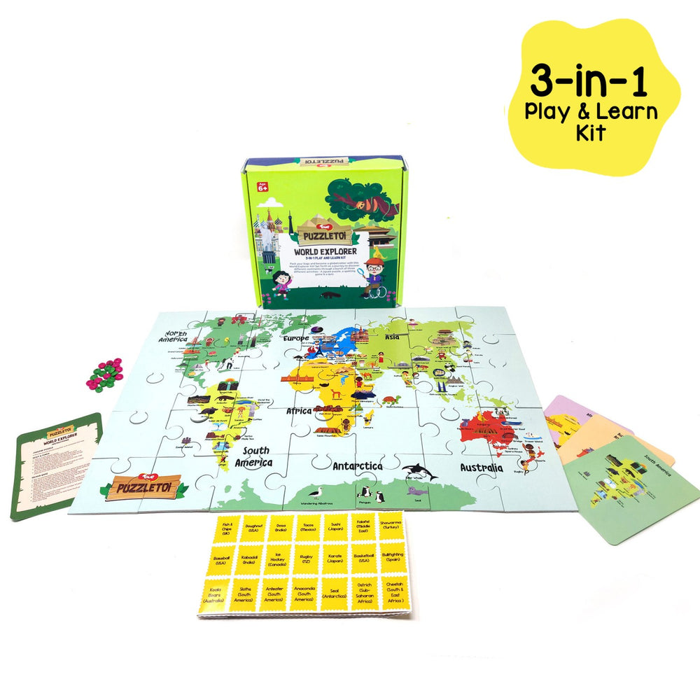 Puzzletoi World Explorer: 3 in 1 Play and Learn Kit