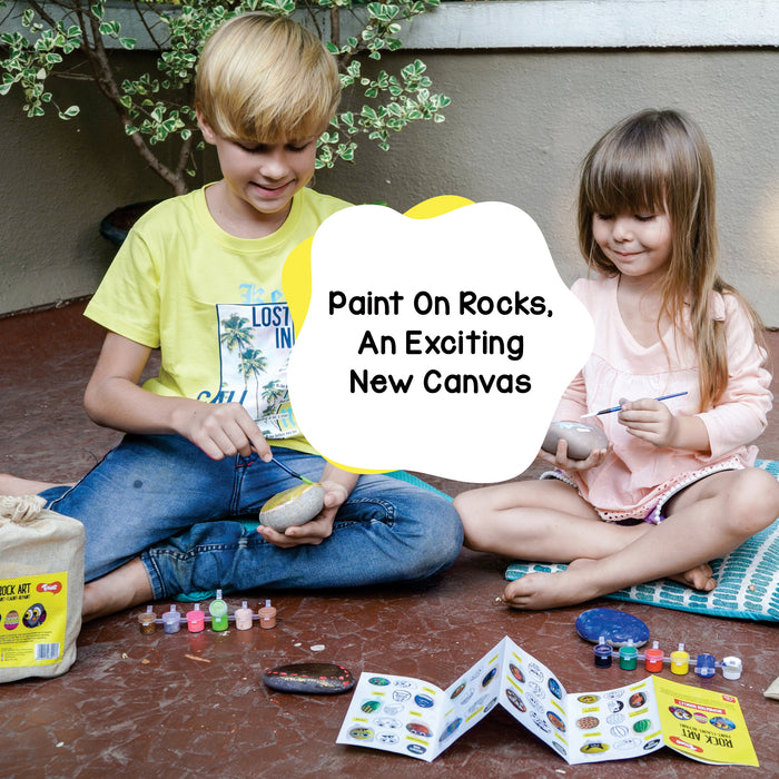Rock Art Kit Return Gift Combo Pack of 12 - Creative Reusable Rock Painting Kit