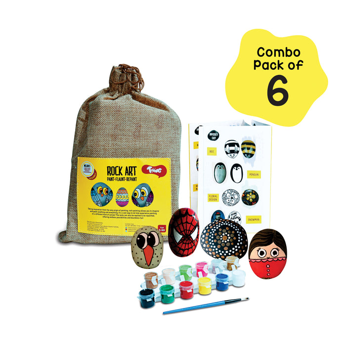 Rock Art Kit Return Gift Combo Pack of 6 - Creative Reusable Rock Painting Kit