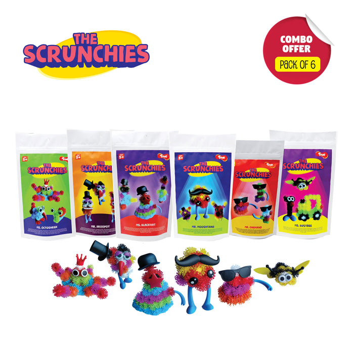 Scrunchies Combo Pack of 6: Monster Family Construction Sets for Kids