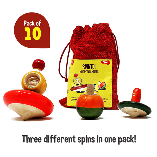 Toiing Spintoi Return Gift Combo - Pack of 10, each pack contains a set of 3 handcrafted traditional channapatna wooden spinning tops