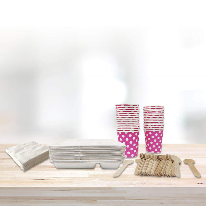 Toiing Tableware Combo - 30 Eco-Friendly Plates, 30 Paper Cups, 30 Wooden Spoons, Pack of Tissues and Magic Tissues