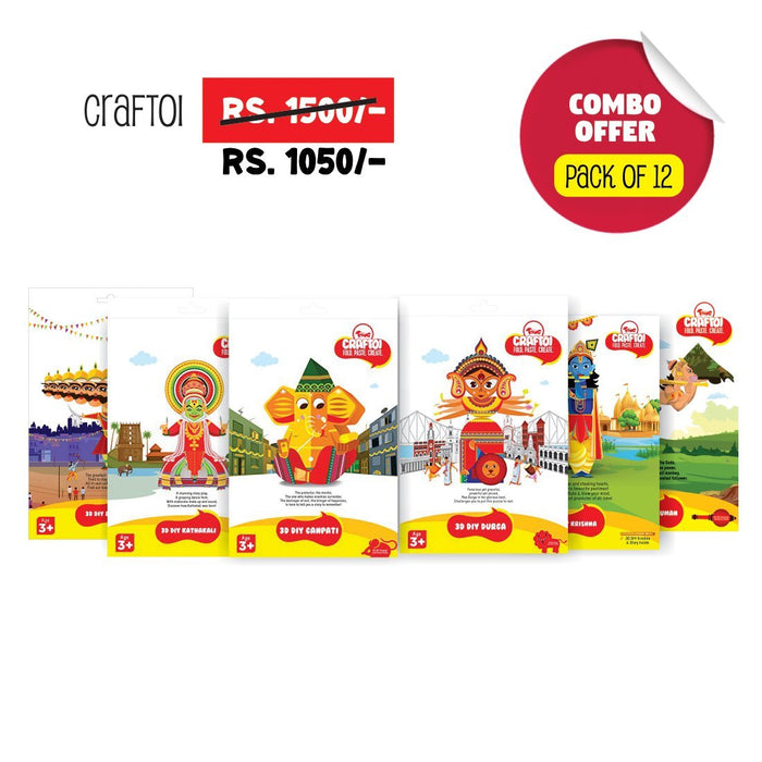 CrafToi - 3D DIY Indian Paper Craft Kit Toy (craftoi12pack)