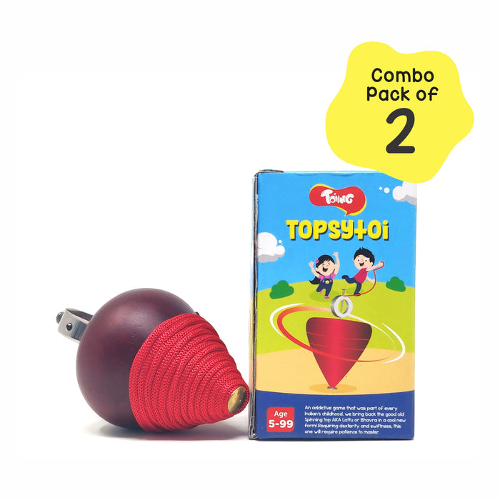 Topsytoi Pack of 2 - Traditional Wooden Spinning Top; Also Spins Upside Down