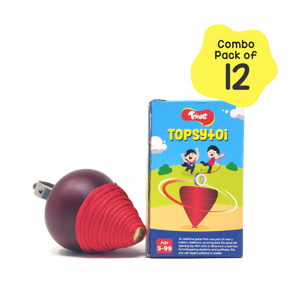 Topsytoi Return Gift Combo - Pack of 12 Traditional Wooden Spinning Top