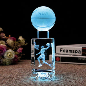 NBA basketball star colorful luminous crystal sculpture
