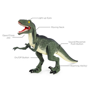 21in Kids Walking Remote Control Velociraptor Dinosaur Toy w/ Lights, Sound