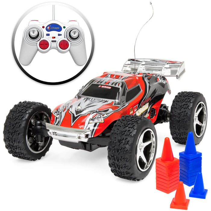 1/32 RC High Speed Mini Racing Toy Car w/ Rechargeable Battery - Red