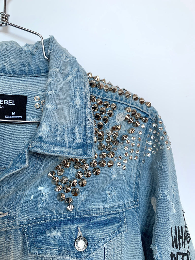 BUNNIES STUDDED JEAN JACKET SAMPLE (MEDIUM)