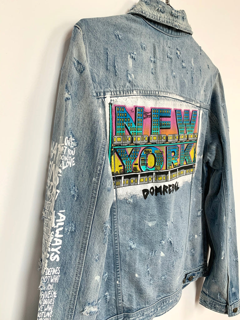 NY GRAFFIT JEAN JACKET SAMPLE  (MEDIUM)