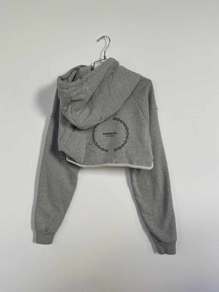 LIZ CROPPED HOODIE WITH HOLES (MEDIUM)
