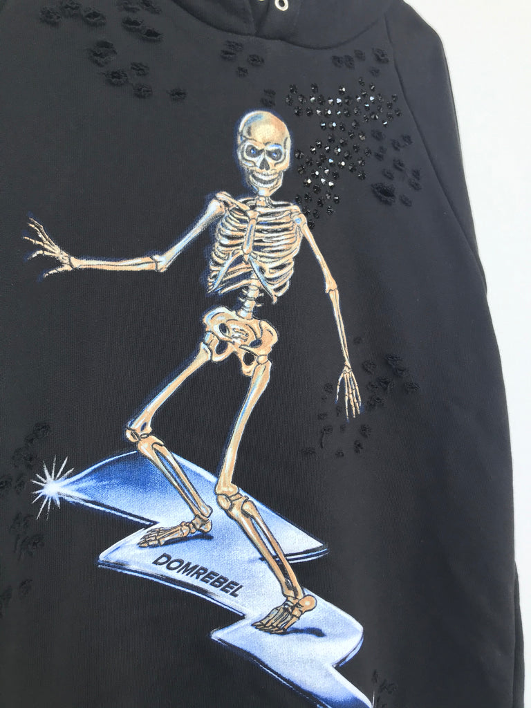 SKELESURF PULLOVER HOODIE WITH SWAROVSKI & HOLES (MEDIUM)