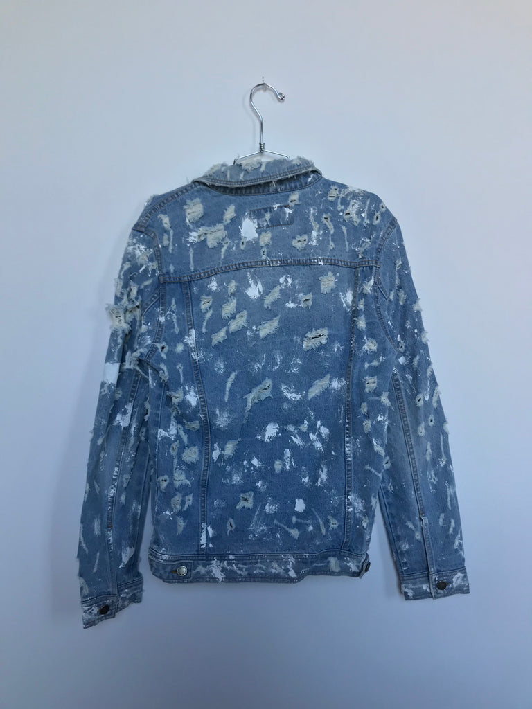 DISTRESSED PAINT SPLATTER JEAN JACKET (MEDIUM)