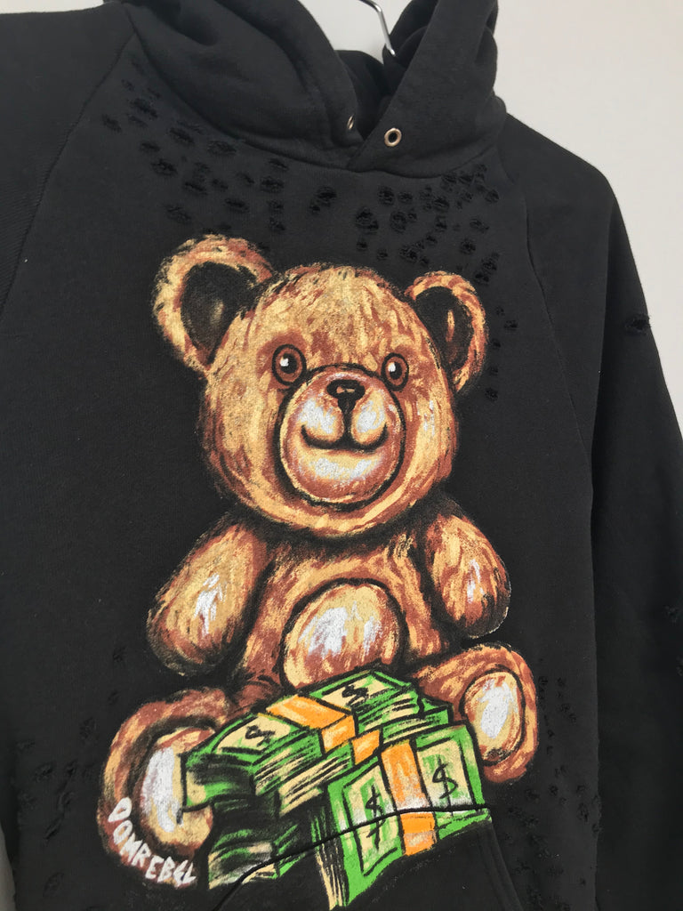TEDDY MONEY PULLOVER HOODIE WITH HOLES (MEDIUM)